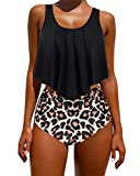 RXRXCOCO Tummy Control Swimsuits for Women Plus Size Bathing Suit High Waisted Swimwear