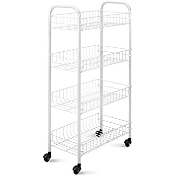 Metaltex Plastic Coated Pisa Rolling Cart, 4 Baskets