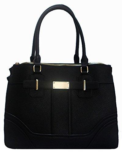 Kukubird Rosalia Ecopelle Tracolla Orizzontale E Piastra Metallica Dettaglio Design Top-manico Spalla Tote Handbag Black