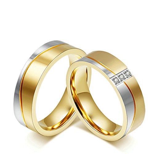 DOLOVE Herren Damen Unisex Kinder - Sonstige Edelstahl White zirkonia - Ring Aquamarin Diamant Und Halo