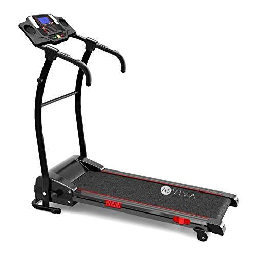 AsVIVA Laufband T17 Cardio Runner Heimtrainer - 12 km/h Geschwindigkeit, elektronischer 2,5 PS HighTech Motor - Fitnesscomputer mit 20 Trainingsprogrammen, manuelle 5{3e7554e51628e094c24e870c44c6f69e5094f1ad163279796466ddcacd06b939} Steigung, kompakt klappbar