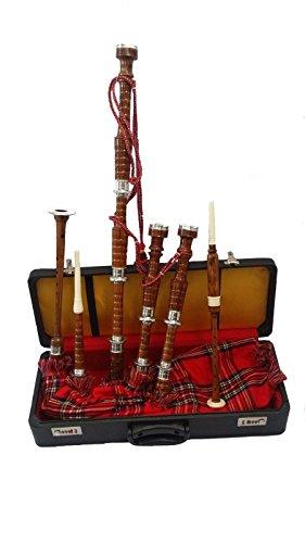 schottischen Great Highland Dudelsack Full Set silber Halterungen/Dudelsack Rosewood Natural mit...