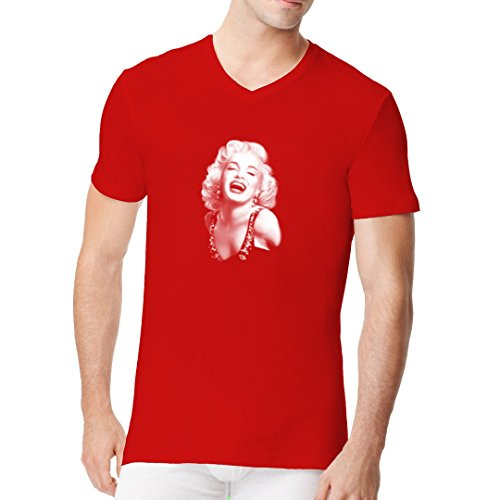 Im-Shirt - Pin-Up: Marilyn - Blondes Starlet cooles Fun Men V-Neck - Rot XXL Starlet Jersey