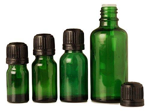 Lot de 6 x 10 ml d'huiles essentielles bouteilles de sérum ronde de gros boston vides bouteilles de verre vert Tamper flacons compte-gouttes bouchon en euros évidents