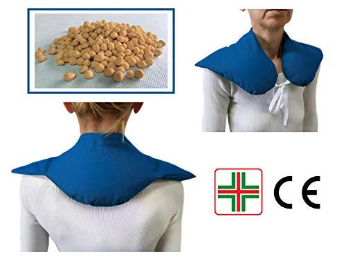 Scaldaspalle -blu- fascia termica riscaldante con noccioli di ciliegia per collo, spalle e schiena, sostegno cervicale, mantellina scaldacollo, supporto nuca antistress, riscaldabile in microonde