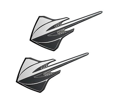 2x (pair/set) Silver Black STINGRAY Real Aluminum Auto EMBLEMS Badges Nameplates for Chevrolet Chevy Corvette Vette C3 C4 C5 C6 C7 1971 1972 1973 1974 1975 1976 1977 1978 1979 1980 1981 1982 1983 1984 1985 1986 1987 1988 1989 1990 Brand New Design