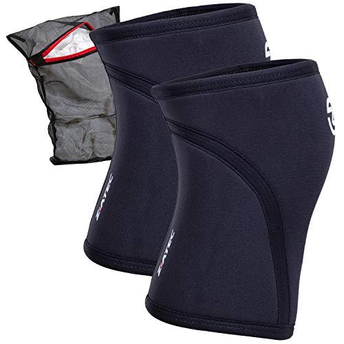 Ziatec Kniebandage Neopren 5 mm (Stück oder Paar) | Kompressionsbandage für die Knie, Fitness-Knieschoner, Kniestütze Wäschenetz, Größe:L, Farbe:Schwarz - 1 Stück