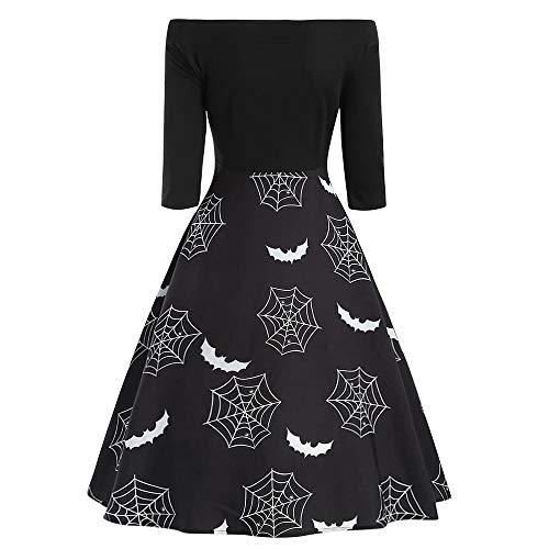 TIFIY Damen Kleid, Retro Knielanges Kleid Halloween Karnevalskostüm A Line Abendkleid Langarm Skull...