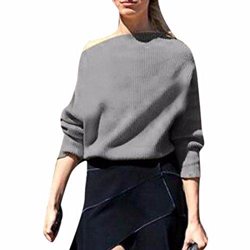 QIYUN.ZFemmes Dames Pull Tricoté Pull En Tricot Usure De Style Court Gris