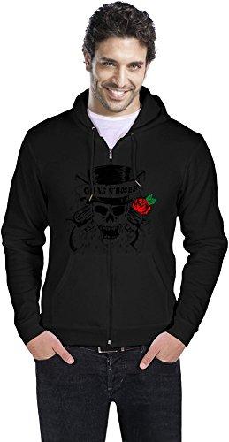 Guns N Roses Skull Logo Uomo cerniera con cappuccio Men Zipper Hoodie Stylish Fashion Fit Custom Apparel By Genuine Fan Merchandise X-Large