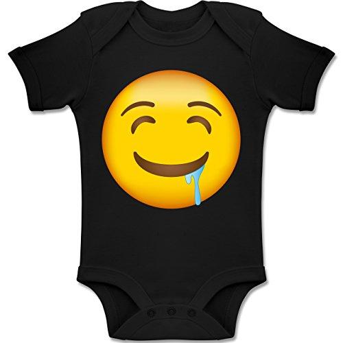 Shirtracer Anlässe Baby - Emoji Wasser im Mund - 18-24 Monate - Schwarz - BZ10 - Baby Body Kurzarm Jungen Mädchen