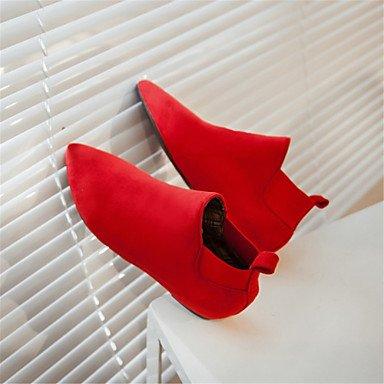 CH&TOU Da donna-Stivaletti-Formale Casual Serata e festa-Plateau Creepers Comoda-Piatto-Felpato Materiali personalizzati-Nero Rosso Tessuto red