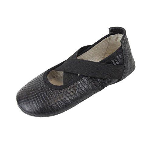 EnFant fille, chaussons ballerines à élastique, cuir, 815120 Noir