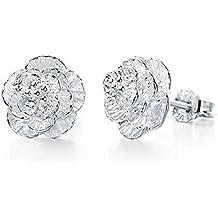 CS Priority - Orecchini a perno a forma di fiore di ciliegio, di alta qualità, placcati in argento, perfetta idea regalo per donne