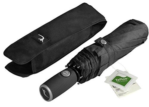 Regenschirm Taschenschirm von BeMaxx Outdoor + Auf-Zu Automatik & wasserabweisendem Teflon - 140km/h windsicher - Reiseschirm Knirps Schirm schwarz: Klein, kompakt, stabil - Reisen & Business
