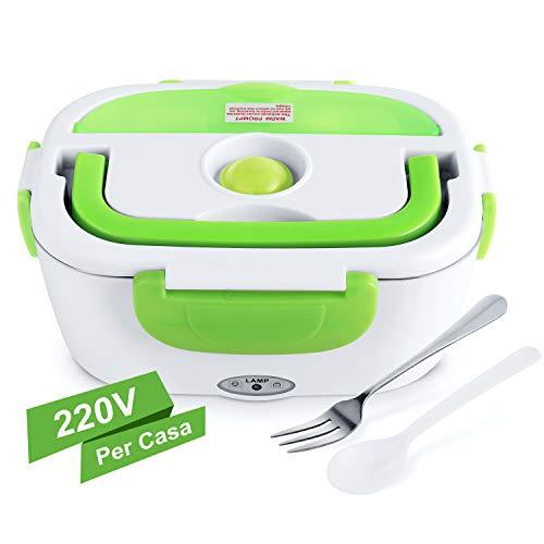 Yissvic scaldavivande elettrico portavivande elettrico in acciaio inox 1,5l portatile con forchetta e cucchiaio vaschetta estraibile per casa