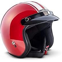 ARROW AV-47 Red Urbano Casco Demi-Jet Cruiser Mofa Chopper Bobber Helmet Scooter Piloto Moto Motocicleta Urban Vespa Vintage Retro Biker, DOT Certificado, Incluyendo Bolsa de Casco , Rojo (Red), S (55-56cm)