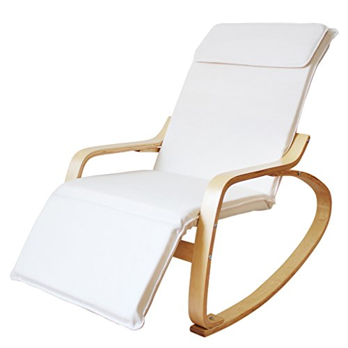 HWF Fauteuils à bascule Chaise à bascule Canapé Chaise Fauteuil inclinable Libre et sans entrainement Balcon pour adultes Balançoire de repos Chaise longue en bois massif (Couleur : Blanc)