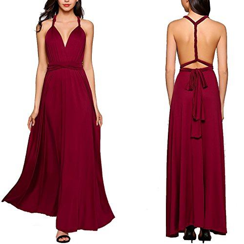 MEXI -  Vestito  - plissettato - Donna Style-02-Weinrot