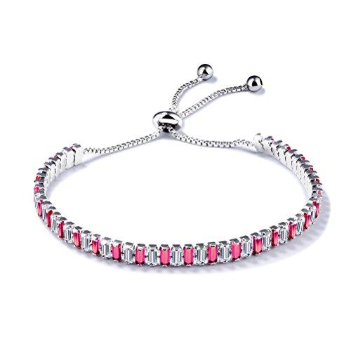 PAURO Damen Schmuck Kubische Zirconia Intarsien Pull Chain Tennis Armband Verstellbare Länge, Red (Kostüm Charme Schule)