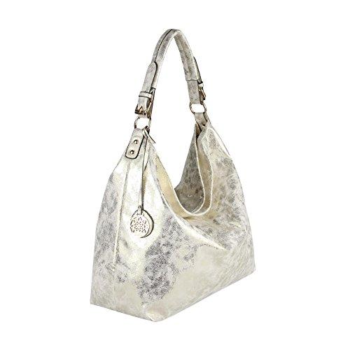 OBC Donna Metallizzato Borsa Shopper Hobo Bag Borsa A Tracolla Borsetta Con Manici Borsa marsupio - celeste, ca 40x36x16 cm ( BxHxT ) Beige 45x34x13