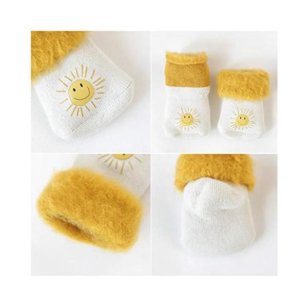 DEBAIJIA 3 Pares de Bebé Calcetines Extra Gruesos de Invierno Cálido Mullidos Vellón 0-5 años Niños Niñas Recién Nacidos… 5