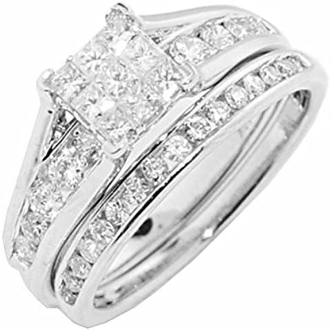 rings-midwestjewellery. com Mujer 1quilates corte princesa Set Juego de compromiso Catedral Estilo y banda de bodas de diamante 10K oro blanco
