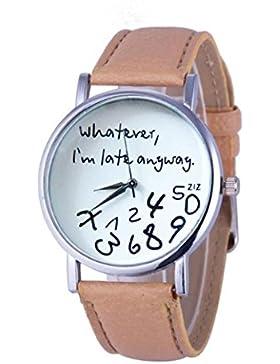 Sunnywill Leder schwarz Frauen Uhr