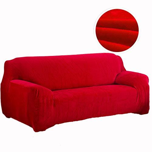 HM&DX Schonbezug Stretch gedruckten & solid Color Kissen sectional Sofa sofabezug ausgestattet lederschutz möbel für Wohnzimmer-rot Ottomane (Wohnzimmer Für Ottomane Rot)