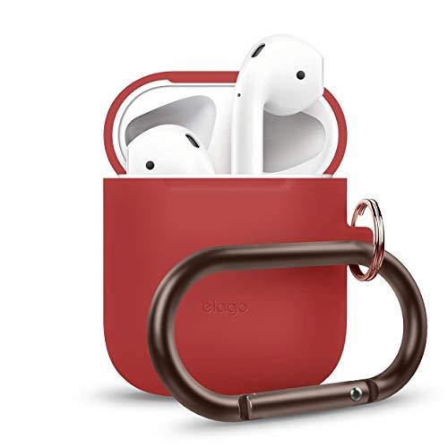 elago Custodia in Silicone da Appendere Compatiblile con Apple AirPods 1 & 2 (LED anteriore Non Visibile) - [Funziona la Ricarica Wireless] [Vestibilità Perfetta] [Moschettone Aggiunto] - Rosso