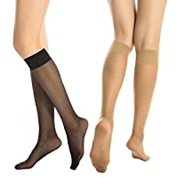 MANZI - Black(6 Pairs) & Light skin(6 Pairs) - Women's Free-size Sexy Knee High Pop Socks 15 Denier,Comfortable and Breathable - 2 Kinds of Packages