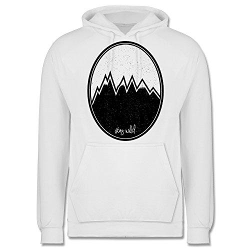 Wildnis - Stay wild. Berge - Männer Premium Kapuzenpullover / Hoodie Weiß