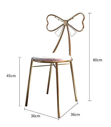 Butterfly-tisch-stuhl-set (FENG Stuhl Nordic Schmiedeeisen Stuhl Tisch und Stuhl Kombination Einfach Lässig Einzelner Herzförmiger Rückenlehne Esszimmerstuhl Gold (Farbe : Butterfly Knot Chair))