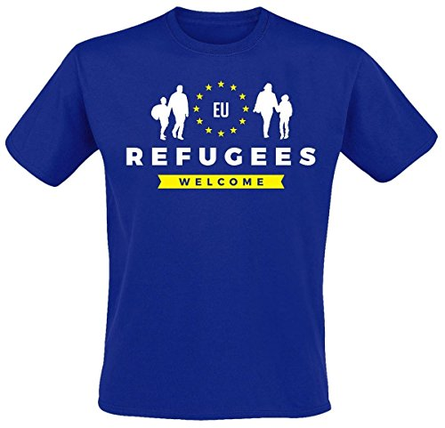 Refugees Welcome T-Shirt, Farbe: royal Blau