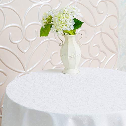 Schmutzabweisend Türkisch weiß Tischdecke Polyester Tisch Leinen, rechteckig, quadratisch, rund, Wäschen leicht, nicht bügeln-Thanksgiving, Weihnachten, Abendessen, Hochzeit, Partys, weiß, Round 70