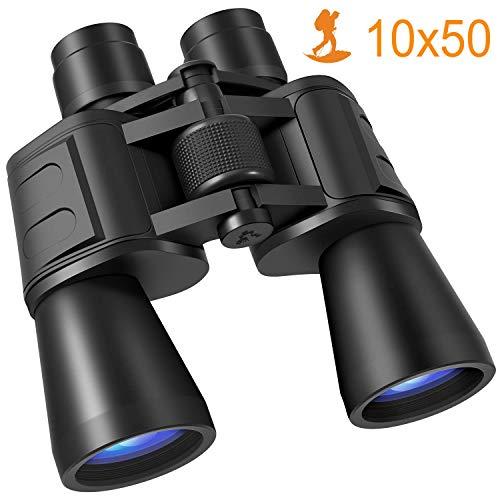 Fernglas, 10x50 Ferngläser HD Kompaktes Teleskop Wasserdicht Feldstecher Fernglas für Kinder Erwachsene mit Tasche und Gurt-BAK4 Prismen/FMC Linse