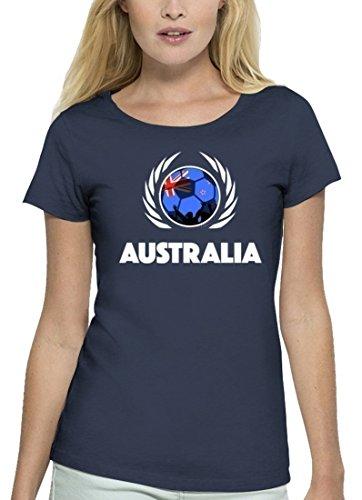 ShirtStreet Australia Fussball WM Premium Fan Damen T-Shirt Bio Baumwolle Stanley Stella Fußball Australien Navy