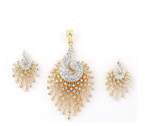 M Creation Gold Cz Peacock Pendant Set Without Chain for Women