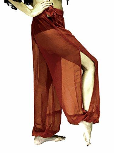 (Bauchtanz Harem Hose zum Tanzen Tribal Tänzer Kostüm Yoga FANCY KLEID Leggings M L XL (MAROON BURGUNDY))