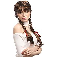 WIG ME UP ® - XR-008-P6 Peluca mujeres Carnaval Cosplay larga Trenzas con cintas trenzadas flequillo Colegiala Lolita moreno 60 cm