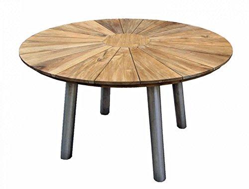 Fjord Table en acier inoxydable avec bois de teck