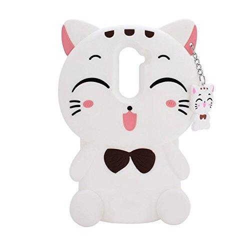 ZTE Zmax Pro Z981Fall, (ZTE Imperial Max z963u/Grand X MAX 2/KIRK Z988/max Duo LTE Case Schutzhülle), 3D Cute Meow Party Katze Kitty Schnurrhaare Weich Silikon Schutzhülle für ZTE Zmax Pro, Cat-White