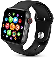 Smart Watch Series 5 T500 Full Screen Bluetooth Heart Rate Monitor Compatible with Apple iOS Android Phone (Bl