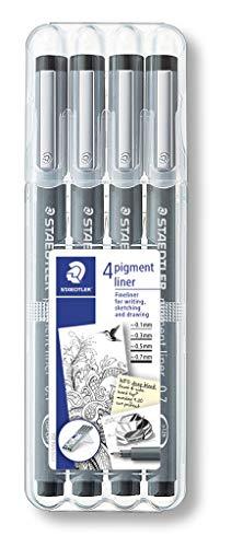 Staedtler 308 WP4 pigment liner, 4 Stück in aufstellbarer Staedtler-Box, schwarz