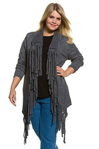 Ulla Popken Femme Grandes tailles Cardigan à franges 706372 gris chiné