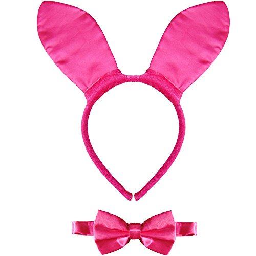 Partybob Sexy Bunny Kostüm Set - Ohren + Fliege (Pink)