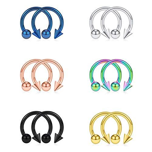 AceFun 16G (1,2mm) 12 Stücke Hufeisen Hoop Piercing Circular Barbell Ohrring Lippen Nase Brust Helix Tragus Ohr Piercing Septum Ring - 8mm Innendurchmesser