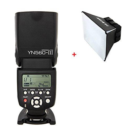 Yongnuo YN560 Mark III YN560III Blitzgerät für Canon, Nikon, Pentax, Olympus + TARION klappbare Softbox + deutsche Gebrauchsanleitung