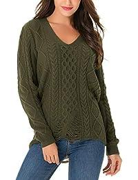 ef4219a16a19df Clasichic Female Sweatshirt Pullover Damen V-Ausschnitt Pullover  Asymmetrisch Zerrissen Löcher Gestrickte Sweater Langarm M-3XL…