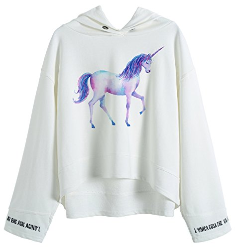 So'each Women's Cute Unicorn Graphic Animal Hoodie Sweatshirt Batwing Pullover (Hoodie Sweatshirt Zebra)